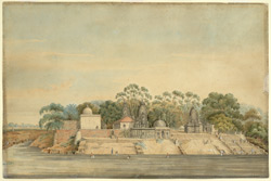 Inscribed on reverse: 'View of the Grove, & Cluster of Pagodas, in rear of the British Cantonment, on the north side of City of Baroda; celebrated for the number of Suthees performed there'